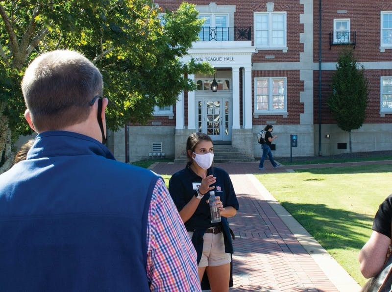 A student recruiter gives a tour of the University on Sept. 30, 2020, in Auburn, Ala.