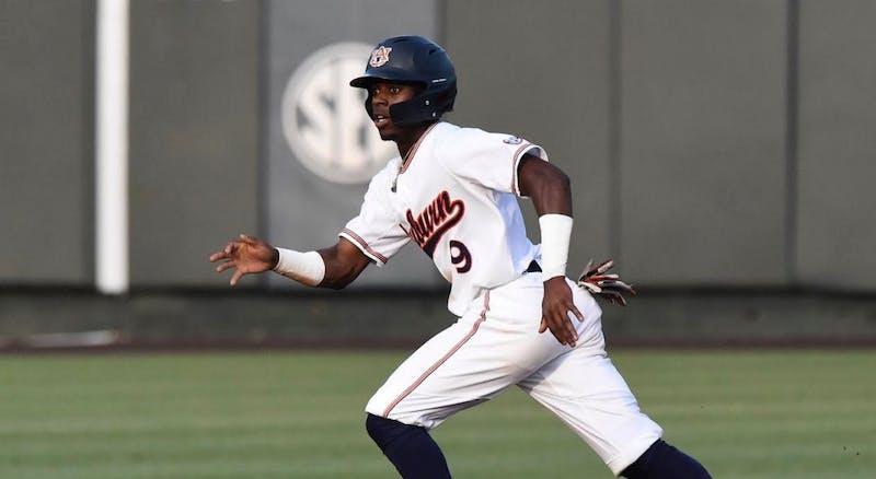Ryan Bliss (9). Auburn baseball vs. Georgia on May 10, 2019, in Auburn, Ala. Credit Meredith Kramer / Auburn Athletics