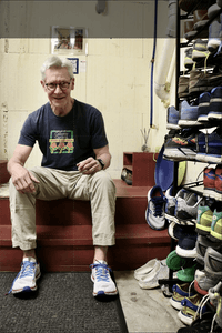 Bob Banks, AORTA's farthest runner in 2019, presents his collection of running shoes on Tuesday, Feb. 25, 2020, in Opelika, Ala.