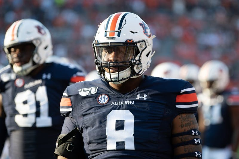 Coynis Miller Jr. (8) warms up prior to Auburn vs. Kent State, on Saturday, Sept. 14, 2019, in Auburn, Ala.
