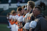 Tigers stand at attention during the national anthem in Auburn Baseball vs. Alabama A&M on Feb. 26, 2020 in Auburn, AL