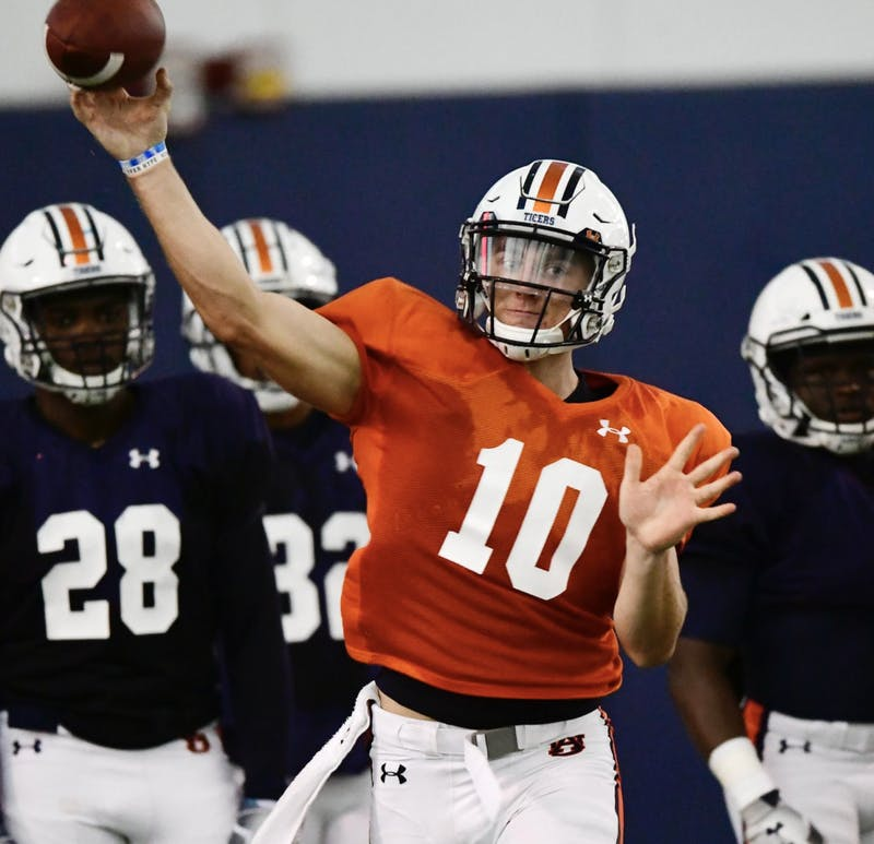 Bo Nix (10) at Auburn football practice on Tuesday, August 20, 2019 in Auburn, Ala.