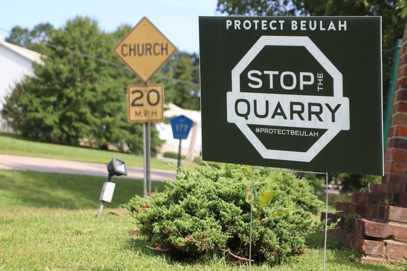 Signs opposing the quarry can be found throughout Beulah on Sunday, Aug. 23, 2020, in Beulah, Ala.