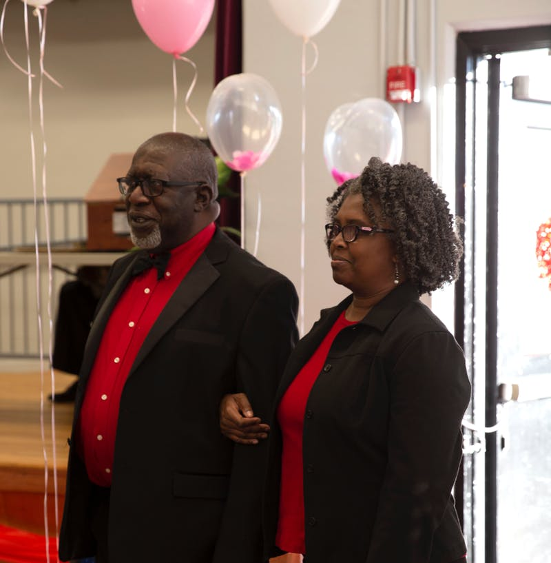 A couple enters the Boykin Community Center during the Senior Citizen Valentine Ball that was held on Feb. 15, 2020.