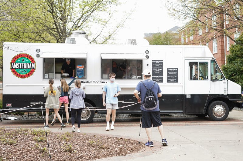 Students enjoy the turkey wrap and the chicken fingers most out of The 'Dam Food Truck's menu.