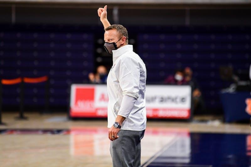 Dec 30, 2020; Auburn, AL, USA; Auburn Tigers football head coach Bryan Harsin reacts during during the game between Auburn and Arkansas at Auburn Arena. Mandatory Credit: Shanna Lockwood/AU Athletics