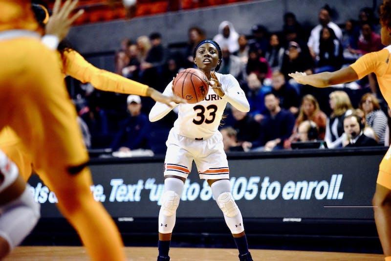 Janiah McKay (33) passes the ball during Auburn Women's Basketball vs. Tennessee on Thursday, Jan. 3, 2019, in Auburn, Ala.