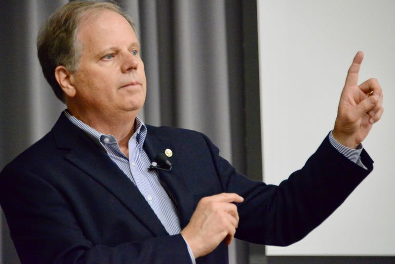 Senator Doug Jones takes questions during his visit to Auburn University on April 24, 2019, in Auburn AL.