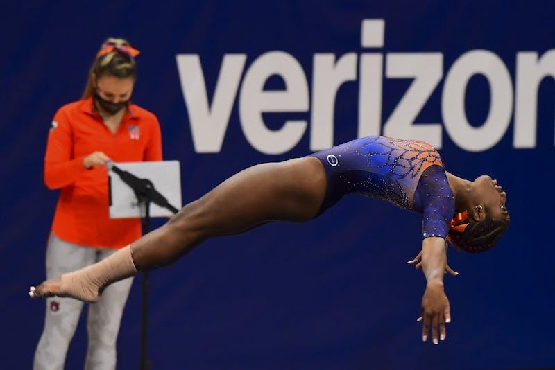Auburn Tigers Derrian Gobourne competes in floor during the gymnastics meet against LSU at Auburn Arena on Feb 5, 2021; Auburn, AL, USA. Photo via: Shanna Lockwood/AU Athletics