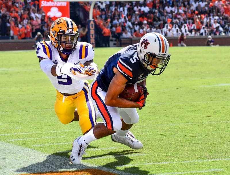 Anthony Schwartz (5) catches a pass during Auburn football vs. LSU on Saturday, Sept. 15, 2018 in Auburn, Ala.