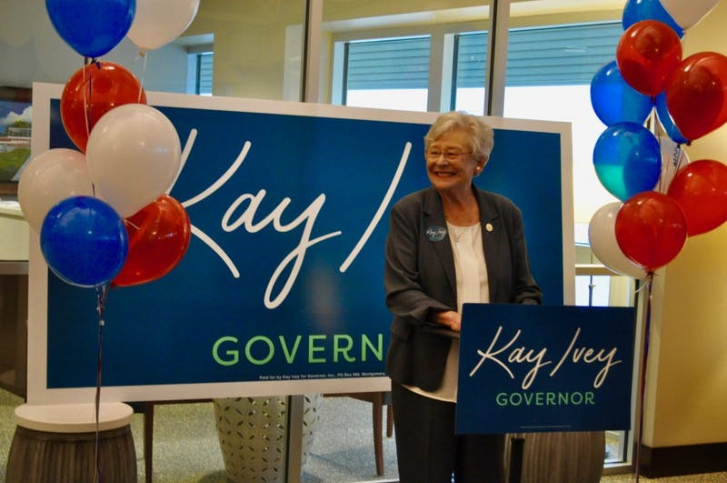Governor Kay Ivey campaigning at the Auburn University Regional Airport on Monday, Nov. 5, 2018 in Auburn, Ala.
