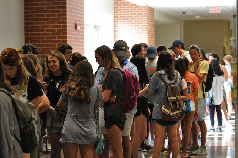 Students line up to listen to Pete Davidson's tiger talk on Thursday, Aug. 23, 2018.