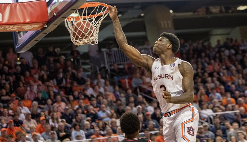 Danjel Purifoy (3) dunks the ball during Auburn Men's Basketball vs. Georgia, on Saturday, Jan. 11, 2019, in Auburn, Ala.