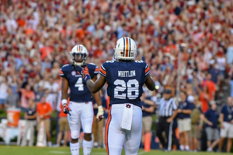 JaTarvious Whitlow (28) prepares to return the opening kickoff during Auburn football vs. Alabama State on Sept. 8, 2018, in Auburn, Ala.