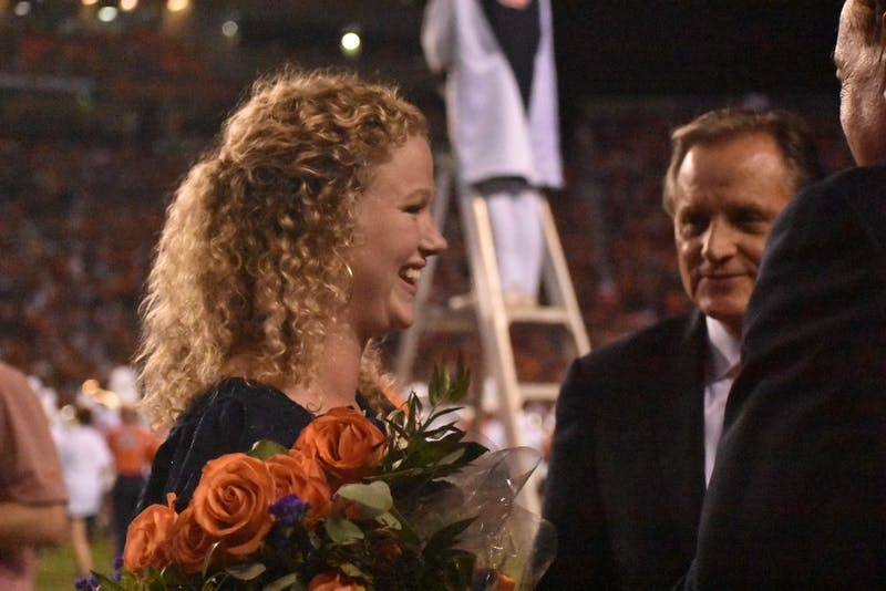 Mary Stewart celebrating receiving Miss Homecoming at half time of the Auburn v. Kent State Game on Saturday, September 14, 2019 in Auburn, Alabama.