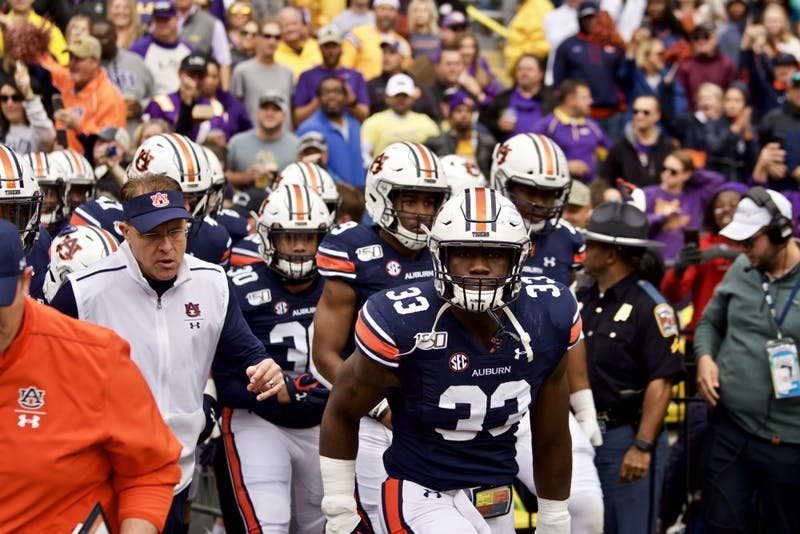 The Auburn Tigers run out on the field during the Auburn vs. LSU game Saturday Oct. 26, 2019, in Baton Rogue, La.
