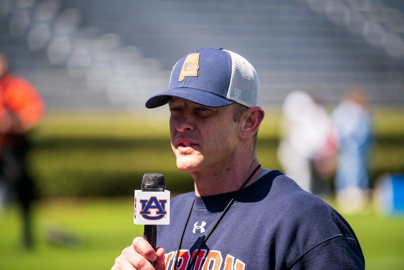 Bryan Harsin speaks to the media during Auburn Footballs Open Spring Practice, on Sunday, March 21, 2021, in Auburn, Ala.