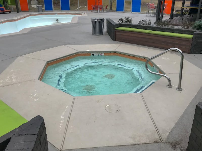 The hot tub at The Hub, on Wednesday, Jan. 23, 2019, in Auburn, Ala.