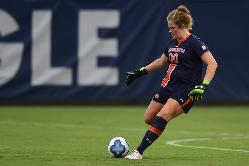 Sep 18, 2020; Auburn, AL, USA; Auburn Tigers goalkeeper Maddie Prohaska (00) during the match between Auburn and Mississippi State at Auburn Soccer Complex.