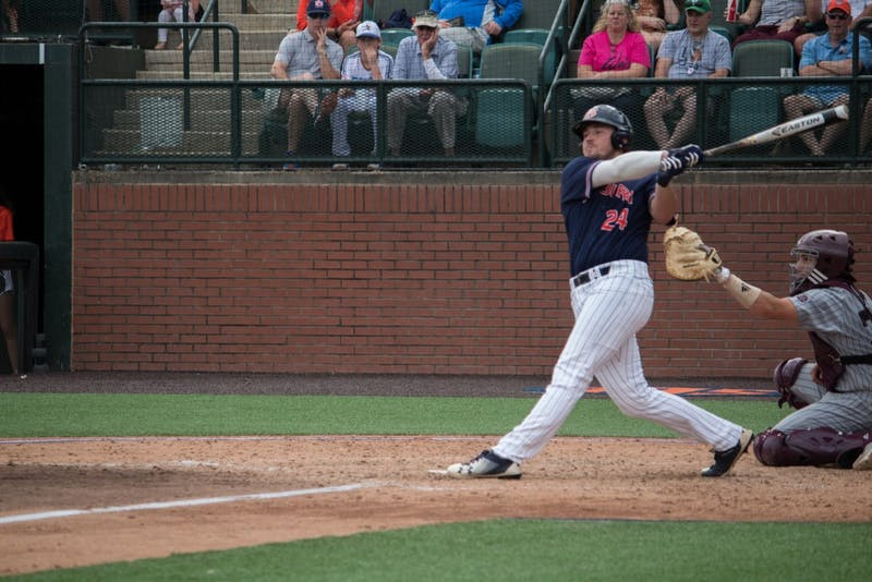 Conor Davis (24) batsfor Auburn Baseball against Mississippi State on Saturday, April 14, 2018, in Auburn, Ala.