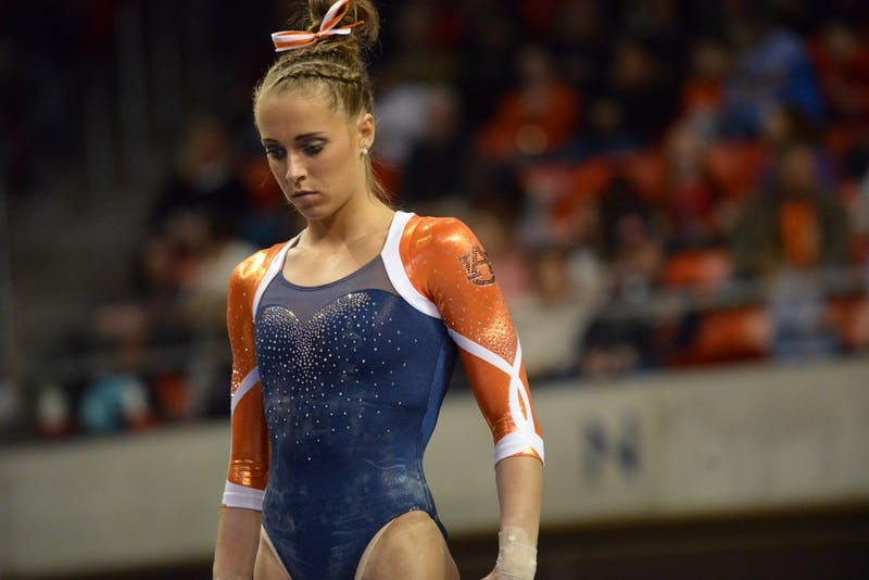 Drew Watson before her balance beam performance