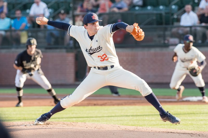 Casey Mize pitches during Auburn vs. Vanderbilt baseball on Friday, May 4, 2018, in Auburn, Ala.