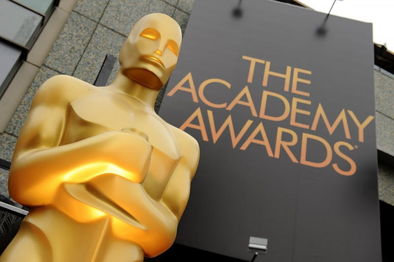 A view of an Oscar statue outside the 84th Annual Academy Awards show at the Hollywood and Highland Center in Los Angeles on February 26, 2012.(Lionel Hahn/Abaca Press/TNS)