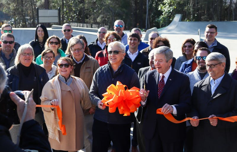 Mayors from both Auburn and Opelika attend ribbon-cutting for the new skate park on Jan. 21, 2020, in Auburn, Ala.