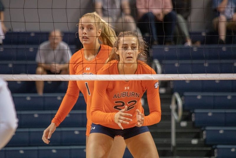 Anna Stevenson (22) waits for the ball to be served during Auburn Volleyball vs. Michigan on Saturday, Aug. 25, 2018, in Auburn, Ala.