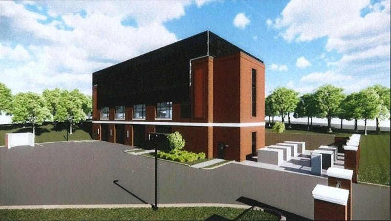 A rendering of the new chilled water plant approved by the Auburn University Board of Trustees.