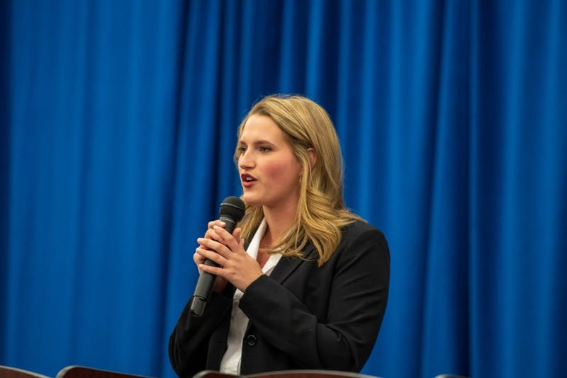 Kate Dorsten candidate for Miss Auburn speaks during the SGA candidate debates, on Monday, Feb. 4, 2019, in Auburn, Ala.