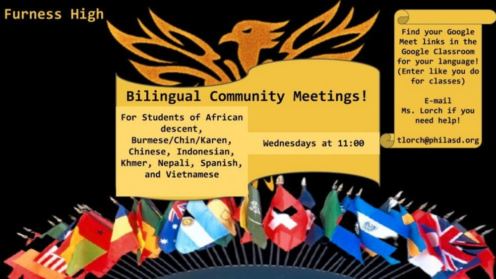 <p>Bilingual Community Meetings flyer. Photo credits: Tiffany Lorch</p>