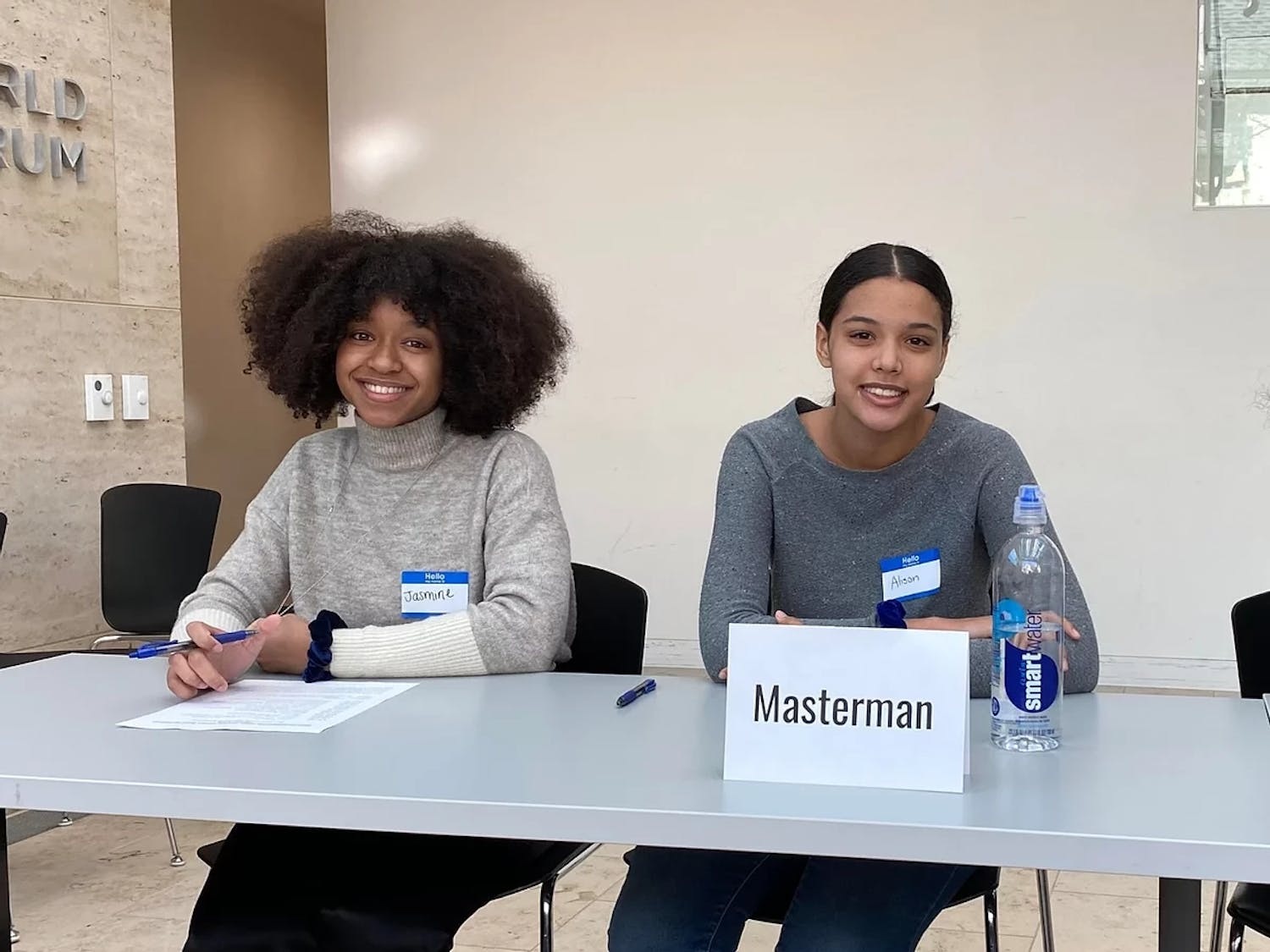 From left to right: Masterman seniors Jasmine Dixon and Alison Fortenberry, leaders of Masterman's weekly race forum.   Photo credits: Alison Fortenberry