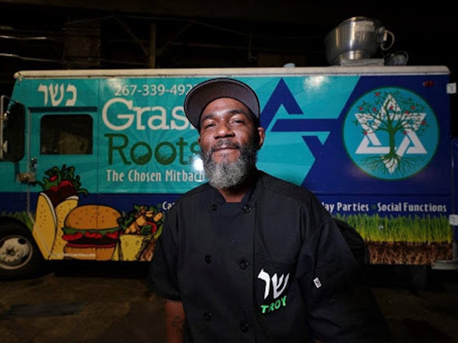 Troy Harris in front of his Grassroots Kosher food truck Credit YeahThatsKosher