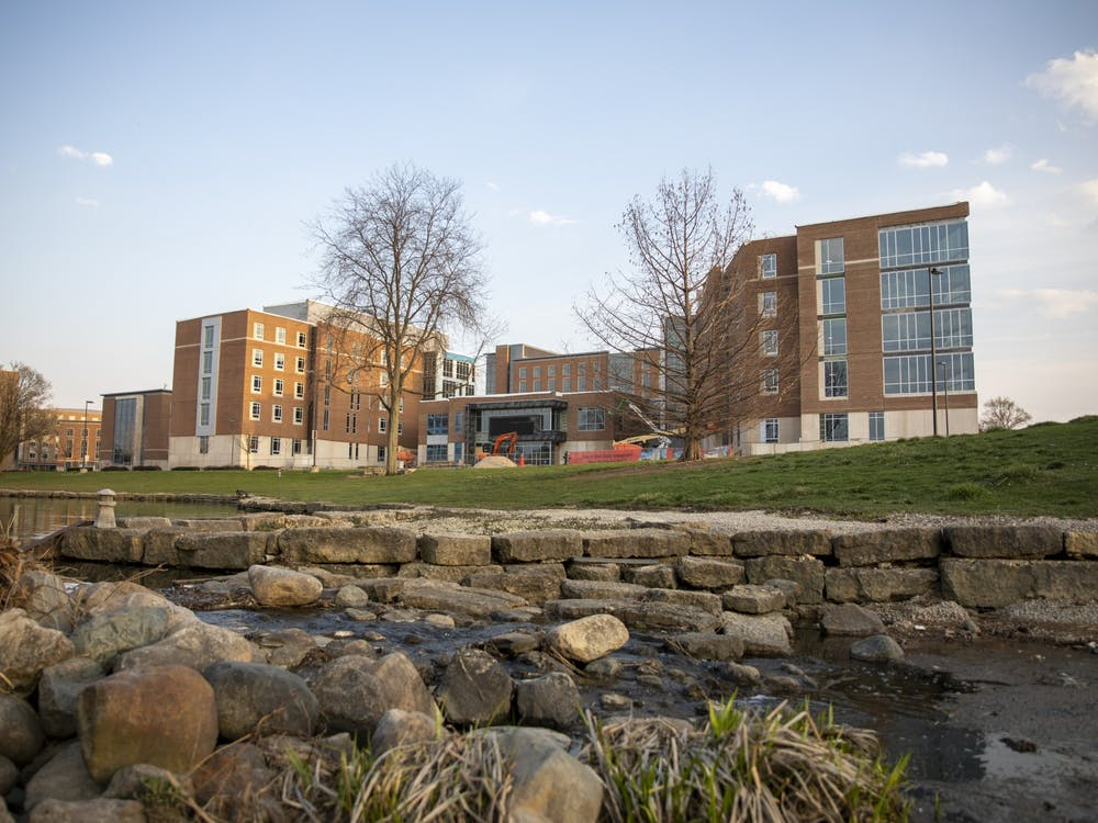North West Residence Hall is under construction April 5, 2021, near the Duck Pond. North West will feature a computer lab, study lounges, semi-private bathrooms and a MakerSpace. Jaden Whiteman, DN