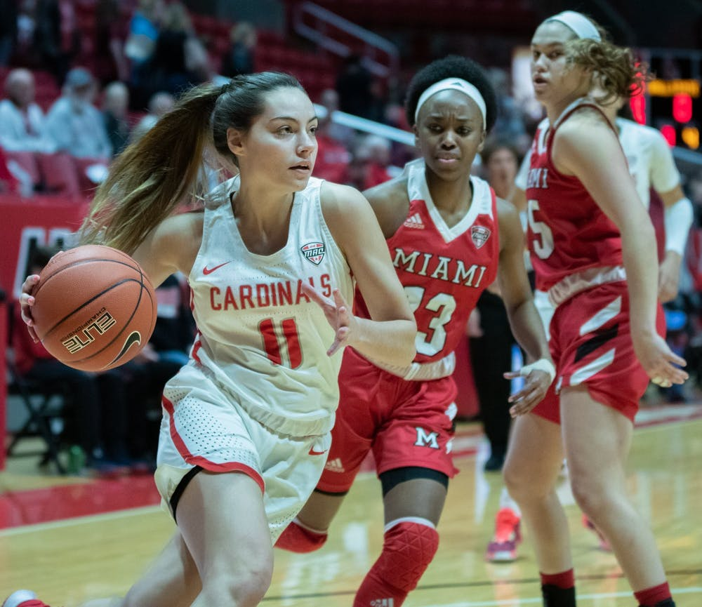 <p>Freshman guard Sydney Freeman drives to the basket, Jan. 25, 2020, in John E. Worthen Arena. Freeman had 11 points against the RedHawks. <strong>Jacob Musselman, DN</strong></p>