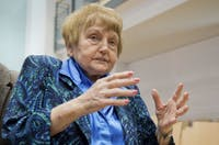 FILE - In this April 21, 2015, file photo, Auschwitz survivor Eva Kor sits in a courtroom in Lueneburg, northern Germany. Kor, who championed forgiveness even for those who carried out the Holocaust atrocities, died Thursday morning, July 4, 2019, in Krakow, Poland, during an annual museum trip. She was 85. (Julian Stratenschulte/Pool Photo via AP, File)