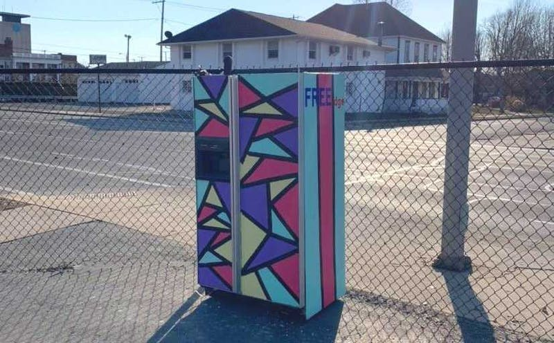 """The original """"ReFreeGerator"""" sits on the south side of Muncie fully stocked with nonperishable foods for community members to take. Five students from Muncie Central High School and Burris Laboratory School painted a second refrigerator after the first was stolen. Shafer Leadership Academy, Photo Provided"""