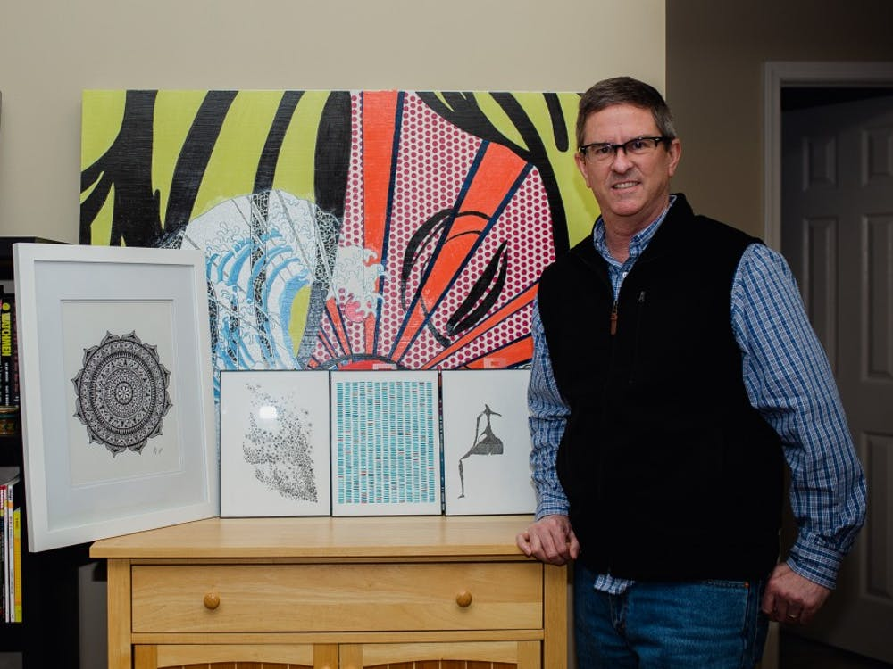 Religious studies associate professor Jeffery Brackett displays some of his artwork at his home. Brackett has created over 100 pieces. Reagan Allen, DN