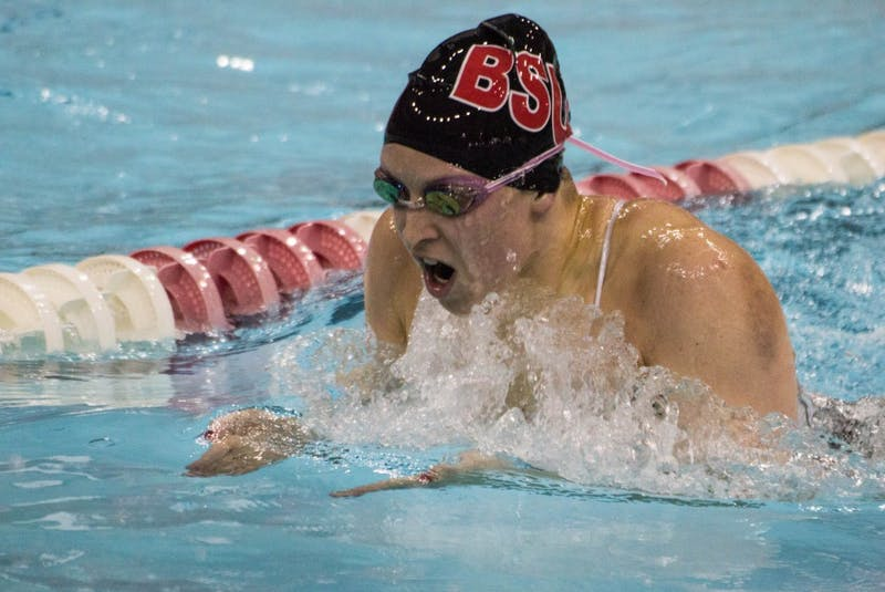 Senior Courtney Mudd swims breaststroke in the 200m individual medley during the senior meet against Notre Dame on Feb. 4 in Lewellen Pool. Mudd finished in fifth place with a time of 2:12.99. Grace Ramey // DN