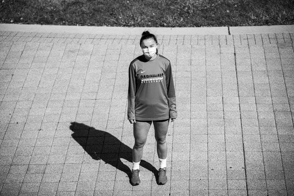 <p>Chloe Rickenbach poses for a portrait Oct. 3, 2020, outside of John E. Worthen Arena. Rickenbach's first offseason at Ball State was unlike others, as she worked out with coaches via Zoom. <strong>Jacob Musselman, DN</strong></p>
