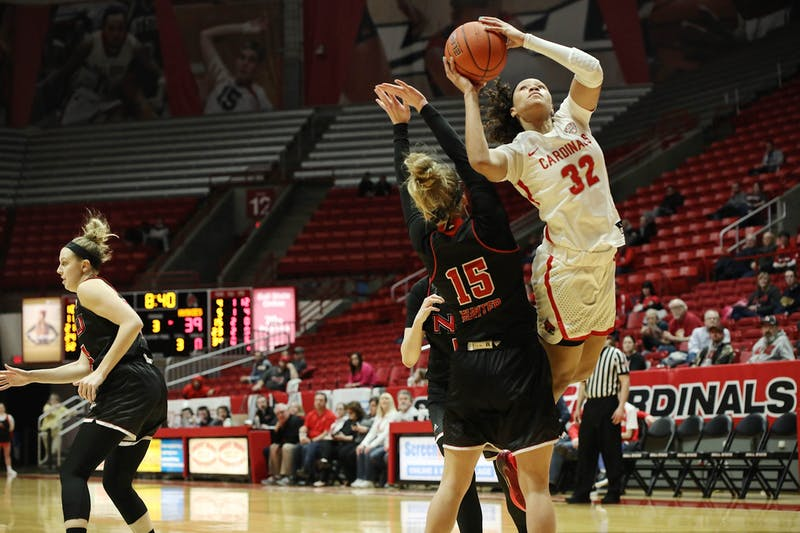 Junior forward Oshlynn Brown goes up to the rim against Northern Illinois Feb. 19, 2020. at John E. Worthen Arena. Brown scored 28 points against the Huskies. Katie Hawkins, DN