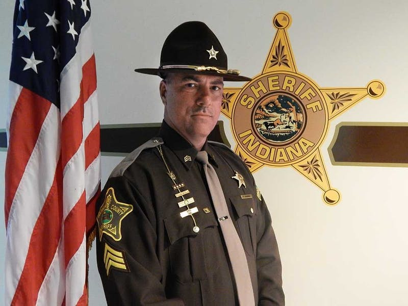 Newly elected Sheriff Tony Skinner poses in his uniform. Skinner's victory in this past midterm election marked the first time a Delaware County sheriff incumbent was unseated since 1944. Tony Skinner, Photo Courtesy