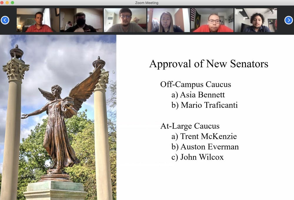 <p>Senators listen to junior Asia Bennett introduce herself before voting her into the at-large caucus at the Sept. 9 SGA meeting. Each applicant for senate introduced themselves and answered questions during the virtual Zoom meeting. <strong>Grace McCormick, Screenshot Capture.</strong></p>