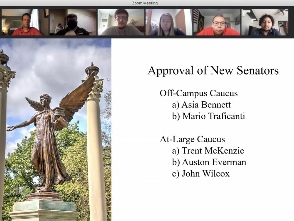 Senators listen to junior Asia Bennett introduce herself before voting her into the at-large caucus at the Sept. 9 SGA meeting. Each applicant for senate introduced themselves and answered questions during the virtual Zoom meeting. Grace McCormick, Screenshot Capture.