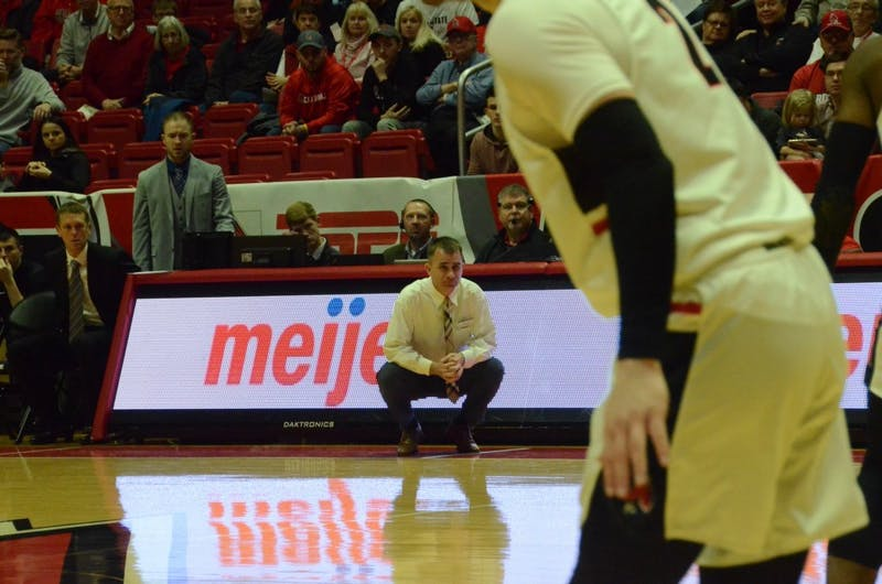 Head coach James Whitford looks on from court side during a game against Toledo on Feb. 26 at Worthen Arena. The Cardinals lost to the Rockets, 80-72. Jack Williams, DN
