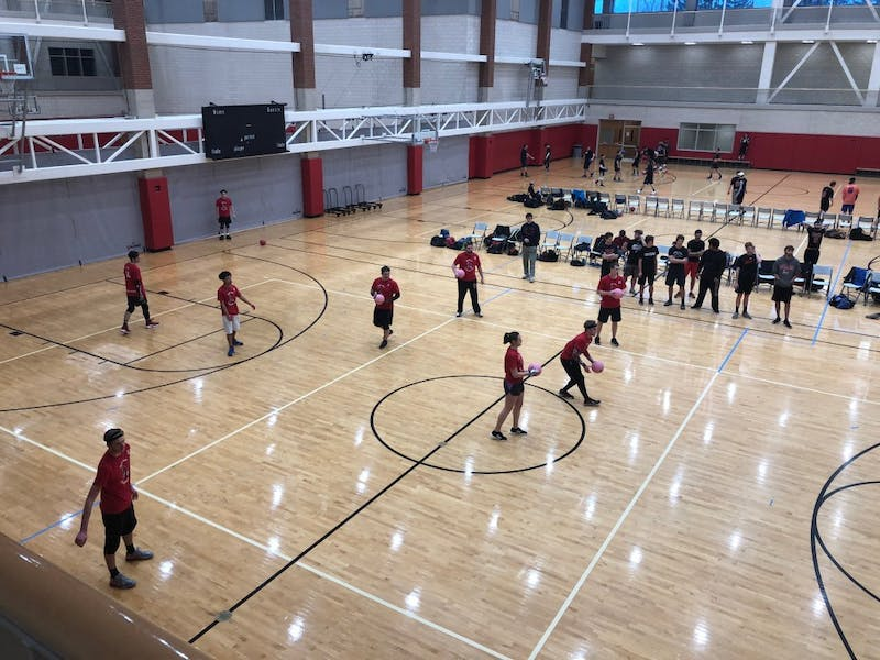 The Ball State Dodgeball Club competes in a tournament  Dec. 1, 2018, in the Jo Ann Gora Student Recreational Center. The Cardinals competed against Wisconsin-Platteville, Cincinnati, Miami (Ohio) and Grand Valley State. Drew Pierce, DN