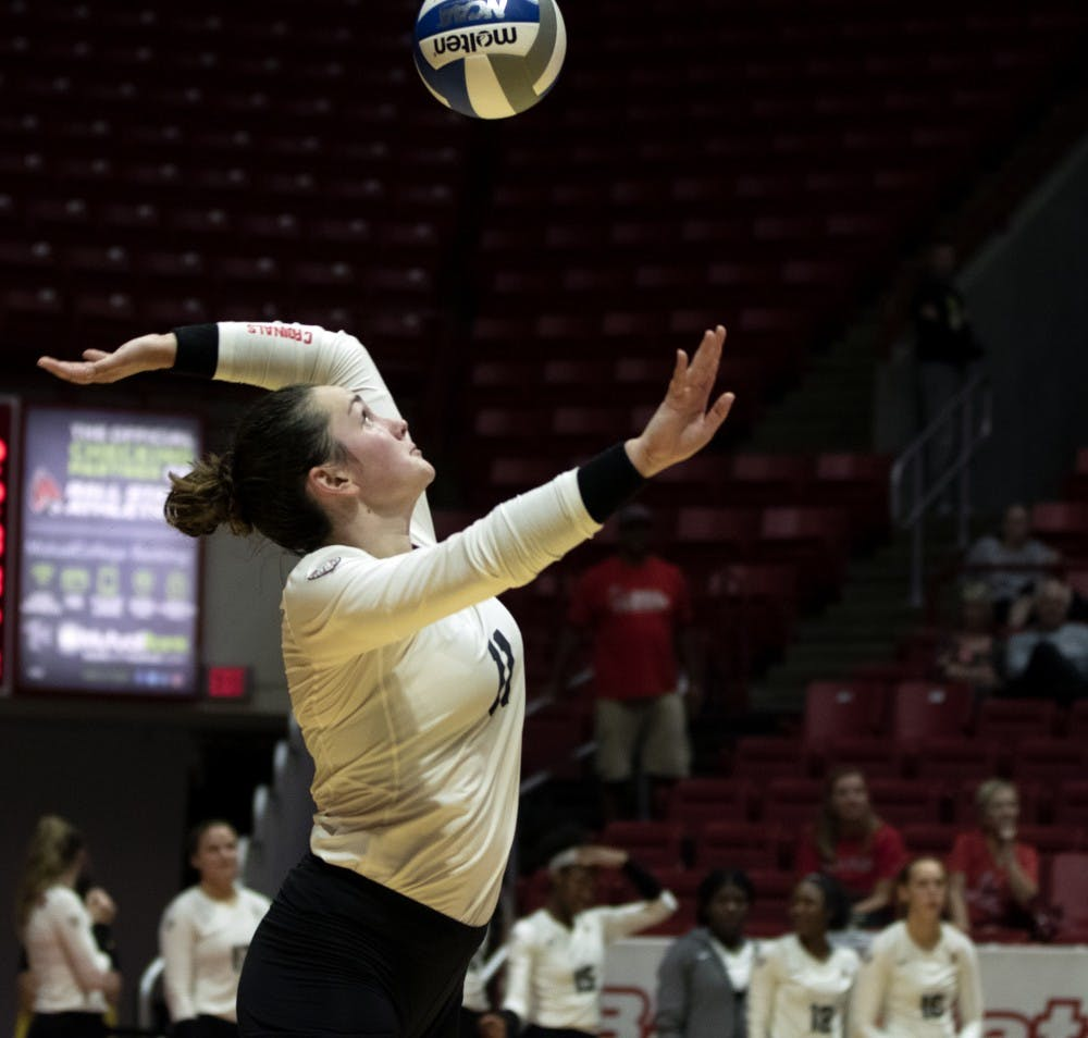 <p>Senior setter Amber Seaman (11), serves the ball during the third match against Austin Peay on September 20, 2019, at Worthen Arena. Ball State went on to win 3-0. <strong>Jaden Whiteman, DN</strong></p>