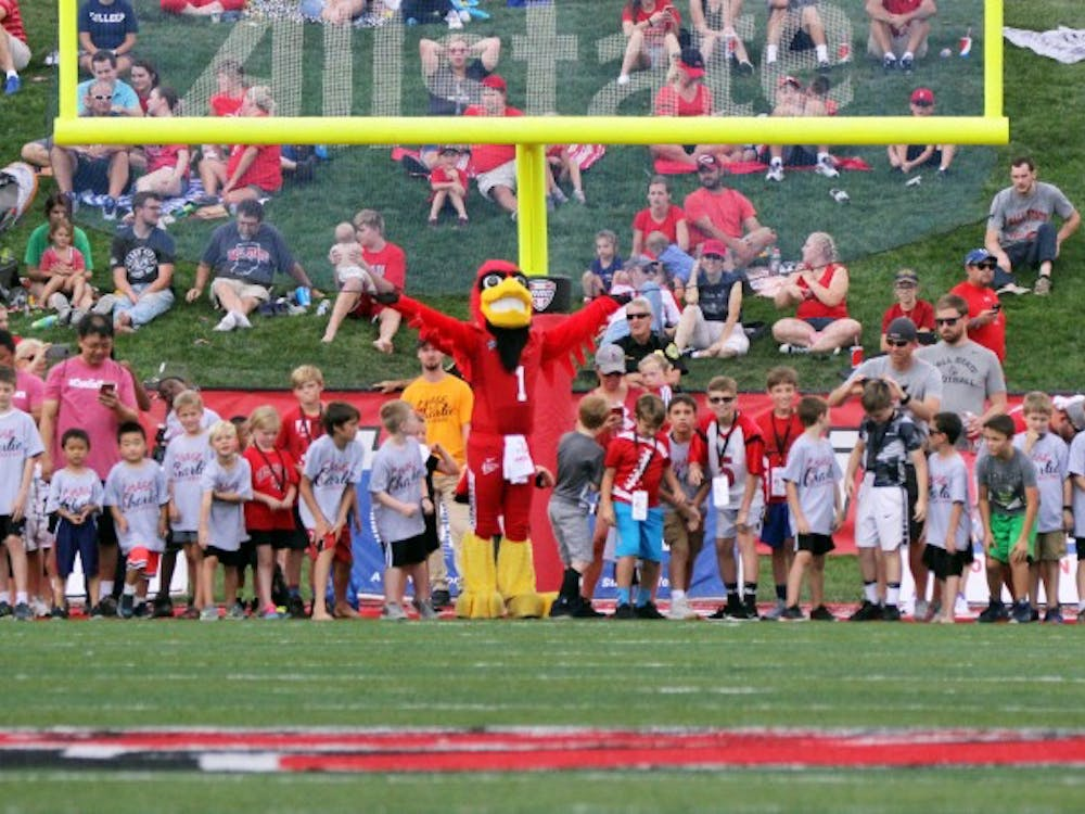 Young Ball State fans participate in the Kiddie 100 at halftime of the Cardinals' game against Tennessee Tech Sept. 16, 2017, at Scheumann Stadium. Ball State was celebrating Famliy Weekend. Paige Grider, DN