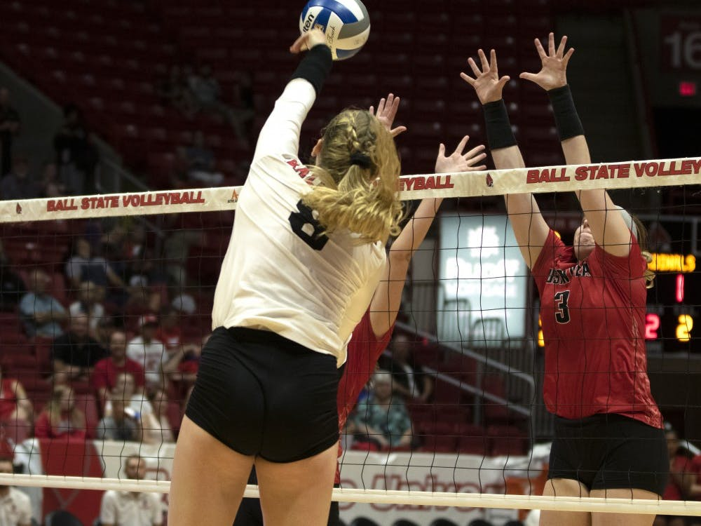 Ball State Women's Volleyball player, Allison Hamaker (8), spikes the ball during the third match against Austin Peay on September 20th, 2019. Ball State won 3-0. Jaden Whiteman/DN